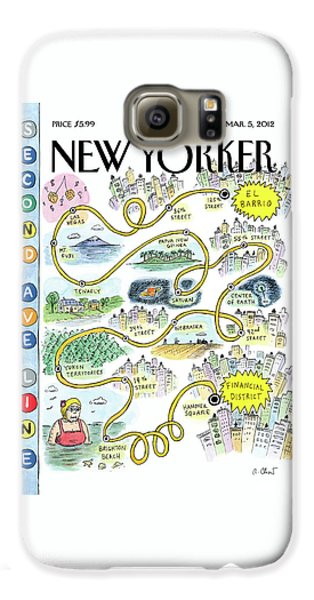 Train Galaxy S6 Case - Second Avenue Line by Roz Chast