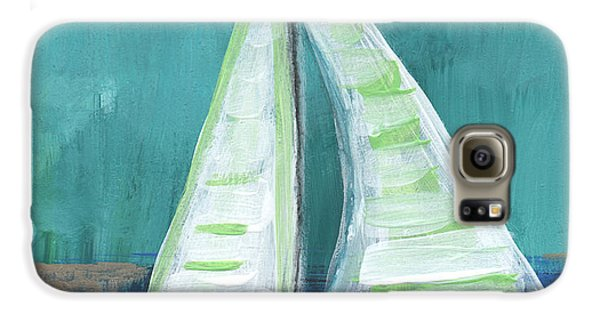 Transportation Galaxy S6 Case - Set Free- Sailboat Painting by Linda Woods
