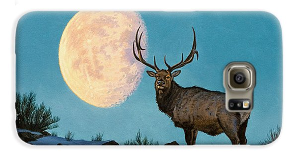 Bull Galaxy S6 Case - Setting Moon And Elk by Paul Krapf