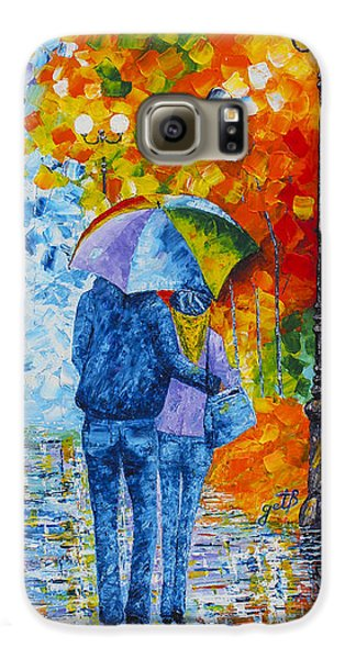 Galaxy S6 Case featuring the painting Sharing Love On A Rainy Evening Original Palette Knife Painting by Georgeta Blanaru