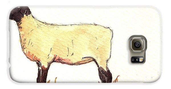 Sheep Galaxy S6 Case - Sheep Black White by Juan  Bosco