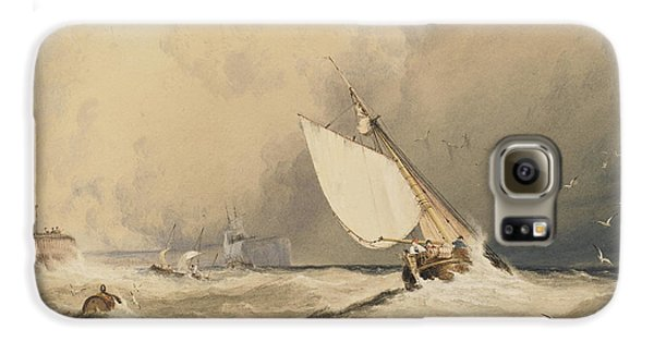 Ships At Sea Off Folkestone Harbour Storm Approaching Galaxy S6 Case by Anthony Vandyke Copley Fielding