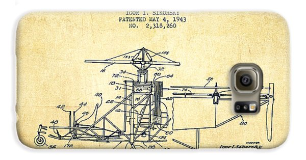 Sikorsky Helicopter Patent Drawing From 1943-vintage Galaxy S6 Case by Aged Pixel