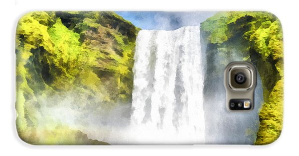 Skogafoss Waterfall Iceland Painting Aquarell Watercolor Galaxy S6 Case
