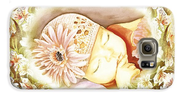 Galaxy S6 Case featuring the painting Sleeping Baby Vintage Dreams by Irina Sztukowski