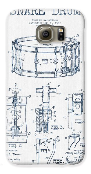 Drum Galaxy S6 Case - Snare Drum Patent Drawing From 1910  - Blue Ink by Aged Pixel