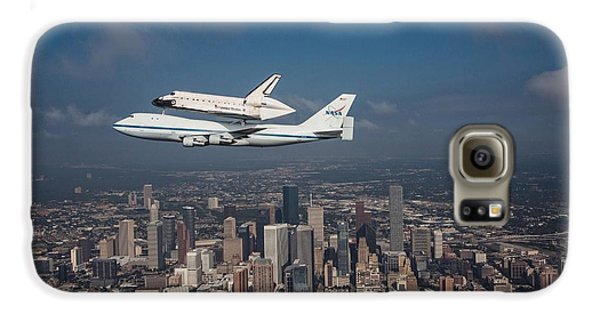 Space Ships Galaxy S6 Case - Space Shuttle Endeavour Over Houston Texas by Movie Poster Prints