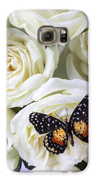 Rose Galaxy S6 Case - Speckled Butterfly On White Rose by Garry Gay