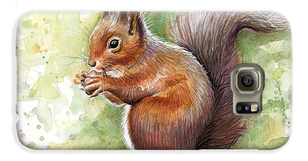 Squirrel Watercolor Art Galaxy S6 Case