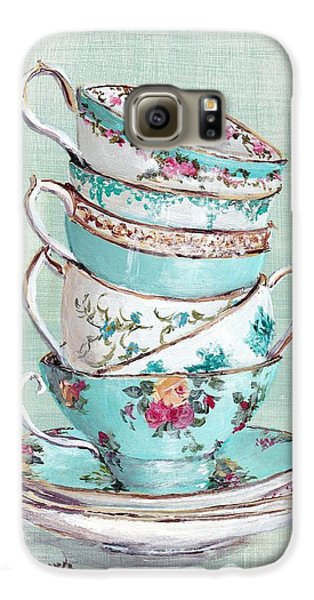 Stacked Aqua Themed Tea Cups Galaxy S6 Case by Gail McCormack