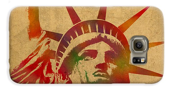 Statue Of Liberty Watercolor Portrait No 2 Galaxy S6 Case by Design Turnpike