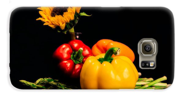 Still Life Peppers Asparagus Sunflower Galaxy S6 Case by Jon Woodhams