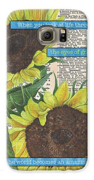 Sunflower Galaxy S6 Case - Sunflower Dictionary 2 by Debbie DeWitt