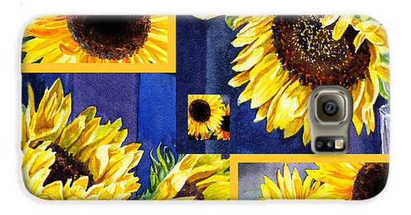 Galaxy S6 Case featuring the painting Sunflowers Sunny Collage by Irina Sztukowski