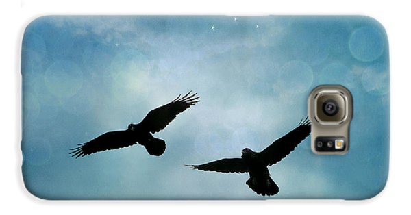 Surreal Ravens Crows Flying Blue Sky Stars Galaxy S6 Case