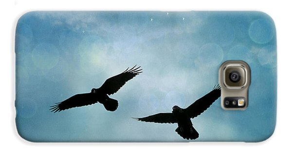 Surreal Ravens Crows Flying Blue Sky Stars Galaxy S6 Case by Kathy Fornal