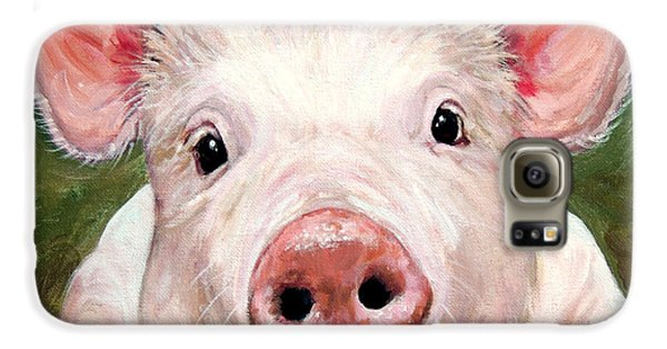 Sweet Little Piglet On Green Galaxy S6 Case by Dottie Dracos