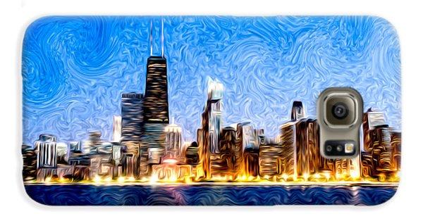 Swirly Chicago At Night Galaxy S6 Case