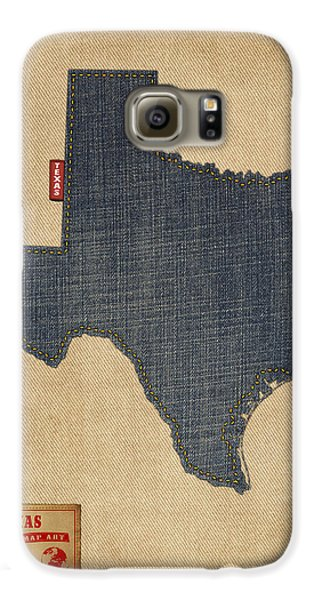 Texas Map Denim Jeans Style Galaxy S6 Case by Michael Tompsett