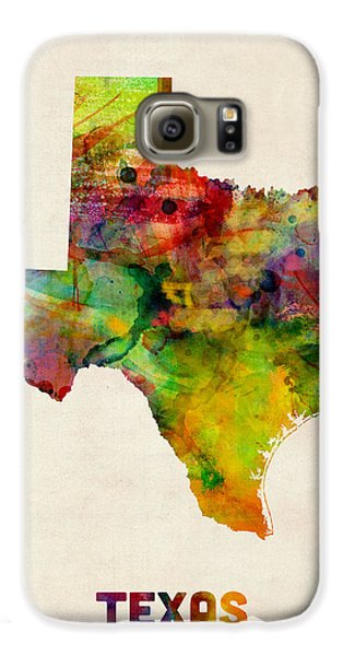 Texas Watercolor Map Galaxy S6 Case by Michael Tompsett