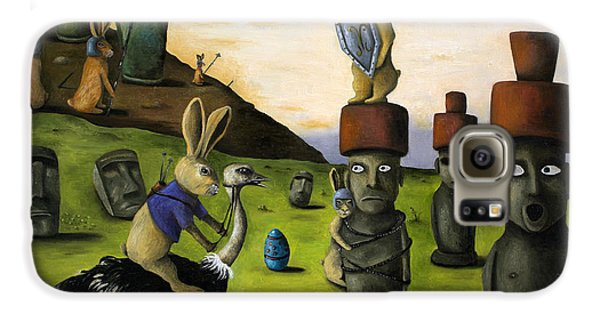 The Battle Over Easter Island Galaxy S6 Case by Leah Saulnier The Painting Maniac