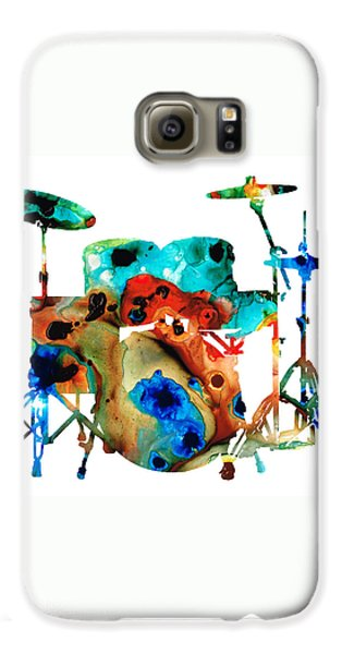Drum Galaxy S6 Case - The Drums - Music Art By Sharon Cummings by Sharon Cummings