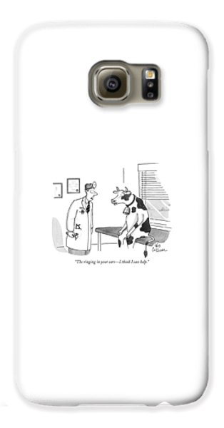 Cow Galaxy S6 Case - The Ringing In Your Ears - I Think I Can Help by Leo Cullum