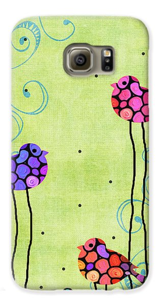 Bluebird Galaxy S6 Case - Three Birds - Spring Art By Sharon Cummings by Sharon Cummings