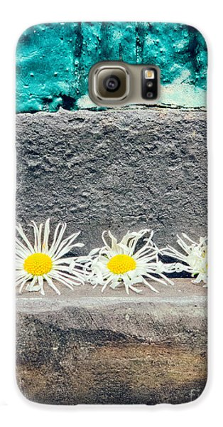 Galaxy S6 Case featuring the photograph Three Daisies Stuck In A Door by Silvia Ganora