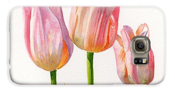 Three Peach Colored Tulips Square Design Galaxy S6 Case by Sharon Freeman