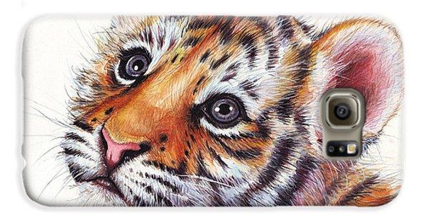 Tiger Cub Watercolor Painting Galaxy S6 Case by Olga Shvartsur
