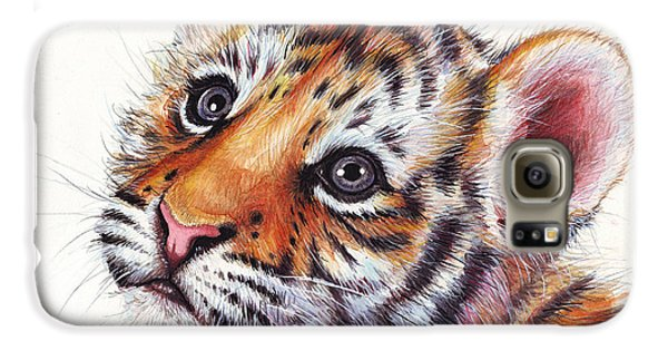 Tiger Cub Watercolor Painting Galaxy S6 Case