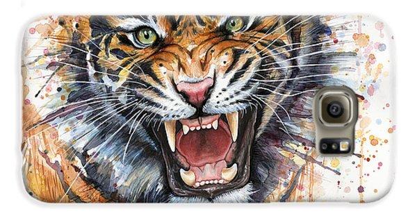 Tiger Watercolor Portrait Galaxy S6 Case by Olga Shvartsur