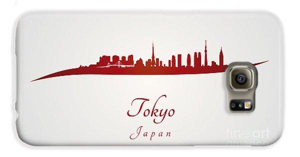 Tokyo Skyline Galaxy S6 Case - Tokyo Skyline In Red by Pablo Romero