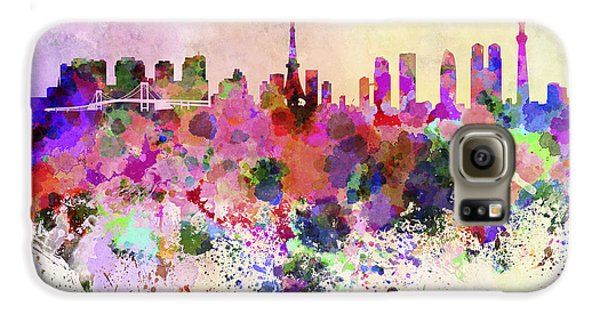 Tokyo Skyline In Watercolor Background Galaxy S6 Case by Pablo Romero