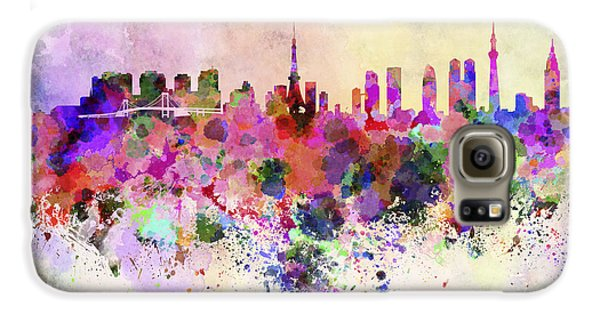 Tokyo Skyline In Watercolor Background Galaxy S6 Case