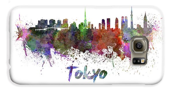 Tokyo Skyline In Watercolor Galaxy S6 Case by Pablo Romero