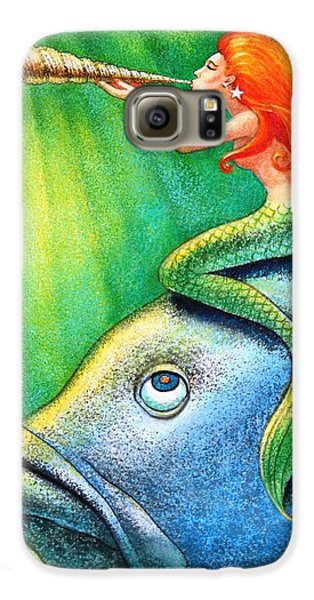 Toot Your Own Seashell Mermaid Galaxy S6 Case by Sue Halstenberg