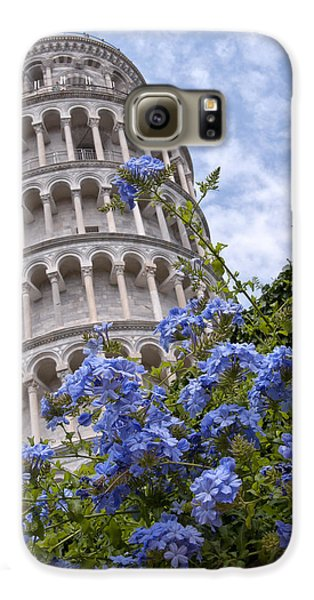 Tower Of Pisa With Blue Flowers Galaxy S6 Case