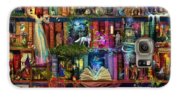 Magician Galaxy S6 Case - Fairytale Treasure Hunt Book Shelf by Aimee Stewart