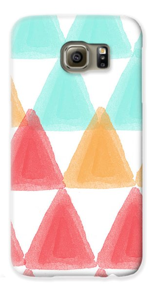 Trifold- Colorful Abstract Pattern Painting Galaxy S6 Case by Linda Woods