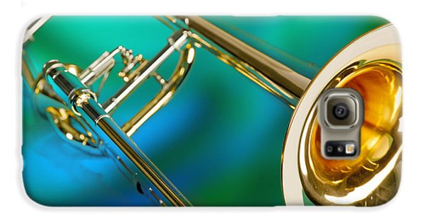 Trombone Galaxy S6 Case - Trombone Against Green And Blue In Color 3204.02 by M K  Miller
