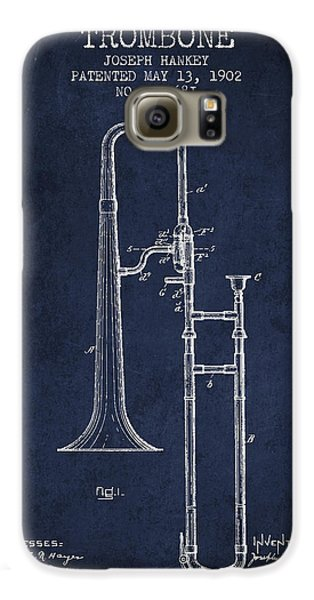Trombone Galaxy S6 Case - Trombone Patent From 1902 - Blue by Aged Pixel