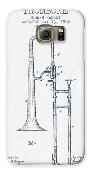 Trombone Galaxy S6 Case - Trombone Patent From 1902 - Blue Ink by Aged Pixel