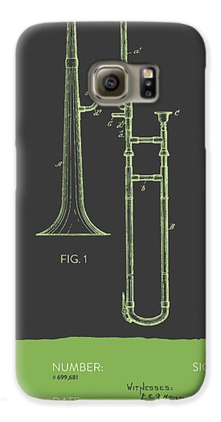 Trombone Galaxy S6 Case - Trombone Patent From 1902 - Modern Gray Green by Aged Pixel