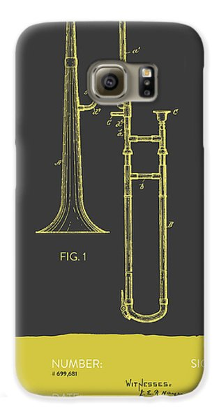 Trombone Galaxy S6 Case - Trombone Patent From 1902 - Modern Gray Yellow by Aged Pixel