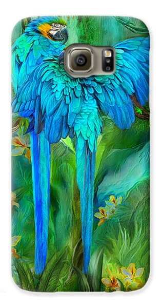 Macaw Galaxy S6 Case - Tropic Spirits - Gold And Blue Macaws by Carol Cavalaris