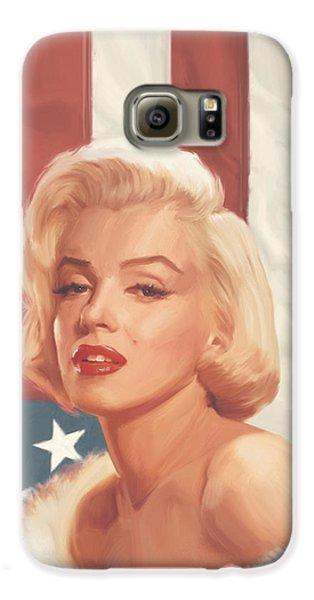 True Blue Marilyn In Flag Galaxy S6 Case by Chris Consani