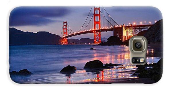 Twilight - Beautiful Sunset View Of The Golden Gate Bridge From Marshalls Beach. Galaxy S6 Case by Jamie Pham