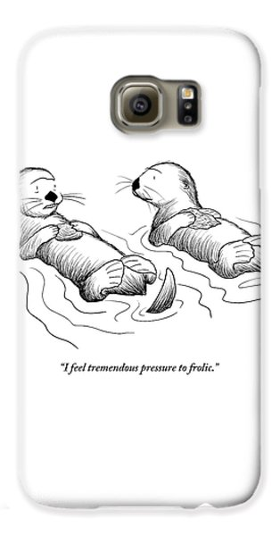 Otter Galaxy S6 Case - Two Otters Laying On Their Backs. One Is Speaking by Alex Gregory